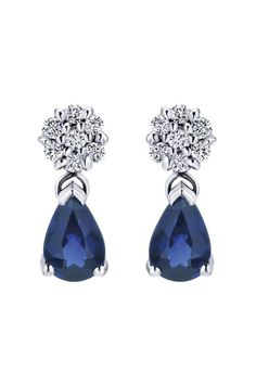 FOR THE ACCESSORIES || 14k white gold sapphire drop earrings || NOVELA...where the modern romantics play and plan the most stylish weddings...Instagram: @novelabride...