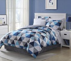 Light Dark Blue White Grey Geometric 8 piece Comforter Bedding Set Full  Size