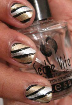 Gold and silver nail art