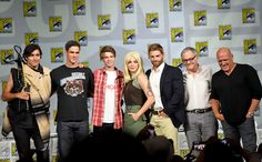 Alexander Koch, Eddie Cahill, Colin Ford, Rachelle Lefevre, Mike Vogel, producer Neal Baer, and Dean Norris, Under The Dome at San Diego Comic-Con 2014