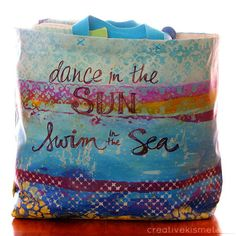 dance in the sun, swim in the sea -Hand painted canvas summer tote by Regina (creative kismet) Painted Bags, Hand Painted Canvas, Diy Canvas, Handmade Handbags, Handmade Bags, Fabric Painting, Shoe Painting, Plain Canvas, Canvas Tote Bags