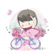 Character in lovely girl and boy watercolor style. Baby Illustration, Wallpaper Iphone Cute, Animal Wallpaper, Cute Cartoon Wallpapers, Cute Bears, Baby Decor, Cute Drawings, Blue Nose Friends, Cute Kids