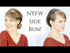 NYFW Inspired Tousled Side Bun This hairstyle is great for work or even with a formal dress! Work Hairstyles, Trending Hairstyles, Everyday Hairstyles, Formal Hairstyles, Curled Hairstyles, Vintage Hairstyles, Hairdos, Updos, Side Ponytail Wedding
