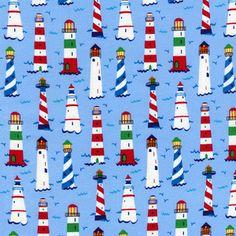 Timeless Treasures House Designer - Coastal and Beach - Mini Lighthouses in Blue