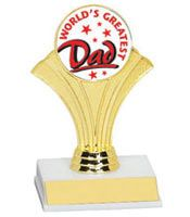 """5 1/2"""" World's Greatest Dad Trophy. White marble-tone base with a graceful gold fan riser."""