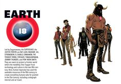 Earth-18Led by Saganowana, the SUPERCHIEF, the JUSTICE RIDERS are BAT-LASH, MADAME .44, STRONGBOW, EL DIABLO, CINNAMON, THE TRIGGER TWINS, FIREHAIR, TOMAHAWKMAN, JOHNNY THUNDER, and POW-WOW SMITH. They are sworn to protect a frontier world where the meddling Time Trapper froze technology and culture in the late 19th century to crate everything humans take for granted in the 21st century, including a telegraph internet and air travel.
