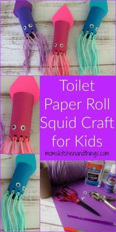 Toilet Paper Roll Squid Craft for Kids - Craf - Top Paper Crafts Daycare Crafts, Toddler Crafts, Preschool Crafts, Baby Crafts, Mouse Crafts, Craft Activities For Kids, Projects For Kids, Diy For Kids, Craft Ideas