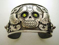 Winged Sugar Skull Antiqued Silver Cuff $54.95