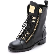 Giuseppe Zanotti Zipper Combat Boots ($1,580) ❤ liked on Polyvore featuring shoes, boots, ankle booties, black, black boots, black platform boots, lace up combat boots, black booties y black leather boots