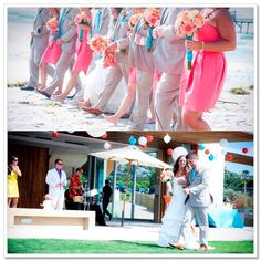Teal and coral wedding party