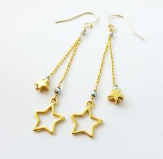 """Gold Star Dangle Earrings by KatKDesigns on Etsy, $19.00  Repin any pin on my """"Jewelry I created"""" board and receive a 15% off coupon code to use on any item. Just send me a convo through Etsy with a link to the repin to receive the coupon code."""