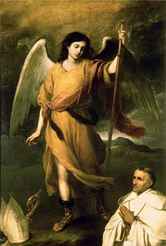 Archangel Raphael With Bishop Domonte By Bartolome Esteban Murillo . Truly Art Offers Giclee Unframed Prints on Paper, Canvas Art, and Framed Art in all our Collections. Catholic Art, Catholic Saints, Religious Art, Raphael Angel, St Raphael, Angels Among Us, Angels And Demons, Esteban Murillo, San Rafael