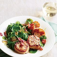 Seared Scallops with Wilted Watercress and Bacon | MyRecipes.com