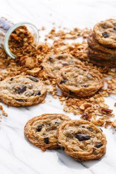 Granola Chocolate Chip Cookies with Homemade Honey Granola Dried Cherries