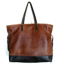 Large Two-Tone Leather Tote
