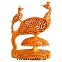 Peacock Statue with Undercut Work – An Example of Wonderful Wood Carving — handicrafts in india