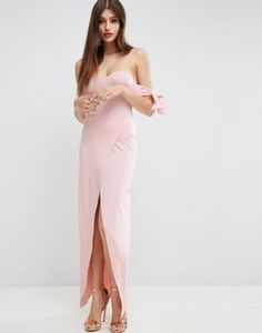 ASOS Bow Off The Shoulder Maxi Dress With Wrap Skirt