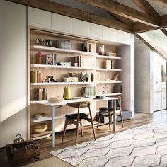 The LGM Tavolo is a queen size, wall bed with 35 linear feet of shelving and a 5 foot fold-down table. Shelving rotates to expose a bed and side table.