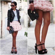 girly with leather jacket <3