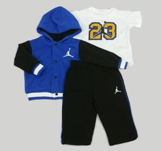 Baby & Toddler Boys Nike Air Jordan 23 Varsity Hoodie, T-Shirt, Pants Outfit Set In Blue
