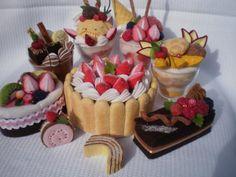Gâteau, fraisier, coupe de glace en feutrine avec effet cristallisé par Viviana