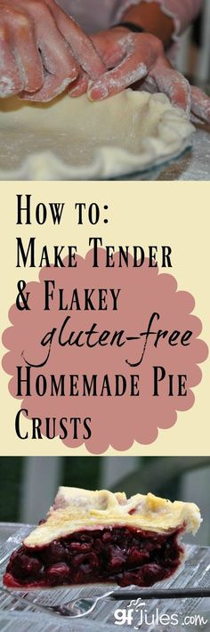 Free Pie Crust Recipe and Tips Gluten free pie crust tutorial - video, recipe and step-by-step photos to get you to pie baking nirvana!Gluten free pie crust tutorial - video, recipe and step-by-step photos to get you to pie baking nirvana! Gluten Free Deserts, Gluten Free Sweets, Foods With Gluten, Dairy Free Recipes, Gf Recipes, Chicken Recipes, Healthy Chicken, Healthy Meals, Healthy Recipes