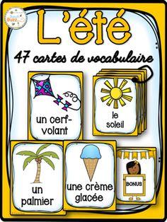 47 cartes de vocabulaire sur les mots de l'été.