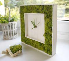 GREEN Wall Clock WOOD CLOCK greenery home decor indoor