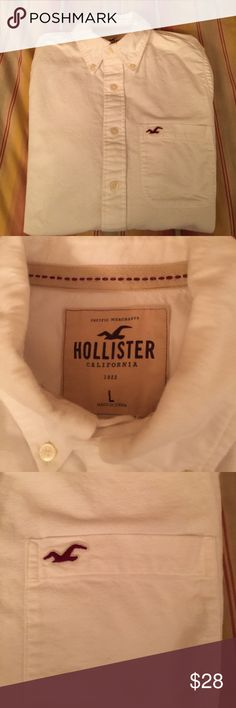 Men's Hollister Button Down Shirt EUC; can't remember my husband wearing it at all.  Super soft. Hollister Shirts Casual Button Down Shirts