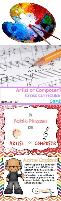 My students love this game! I use it at the end of class and I have put it as a part of my sub tub as well. Students choose whether they think a person is an artist or a composer. When they get the correct answer, a short blurb about the person is display Ballet Music, Music Activities, Music Games, Music Classroom, Music Teachers, Music Worksheets, Teaching Music, Teaching Tools, Music School