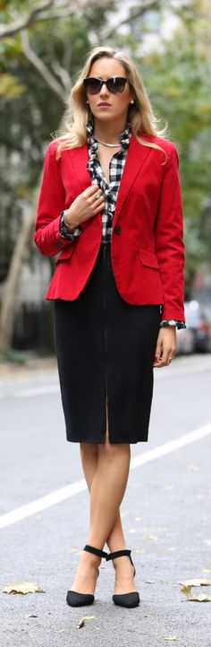 The Classy Cubicle: Check Yourself {ralph lauren, magaschoni, zara, escada, asos, red corduroy blazer, black and white check ruffle shirt, zip front pencil skirt, ankle strap pumps}