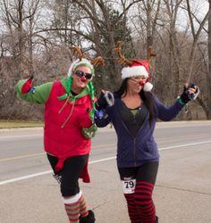 Santa Hat Dash & Reindeer Run, running costumes.