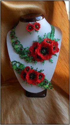 Jewelry Set Red poppies by BeadedJewelryVirunia on Etsy