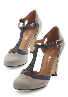 1930s Style Shoes: No Limit on Lovely Heel in Grey and other colors. Two Tone T strap shoes