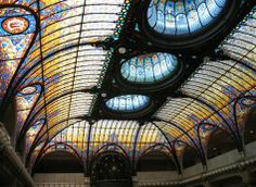 Tiffany stained glass ceiling, Gran Hotel Ciudad de Mexico, Mexico City.  Art Deco, 1908. Wow.