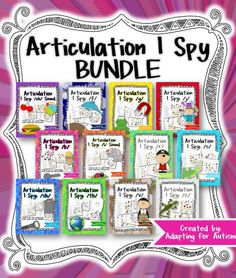 Articulation I Spy BUNDLE: This bundle includes 12 different I Spy games with three levels each for a unique way to focus on articulation goals for the sounds /ch/, /f/, /g/, /j/, /k/, /l/, /r/, /s/, /sh/, /th/, /v/ and /z/. Students can have fun searching for the pictures while practicing each sound in the initial, medial and final positions. #articulation #adaptedgame {Created by Adapting for Autism}