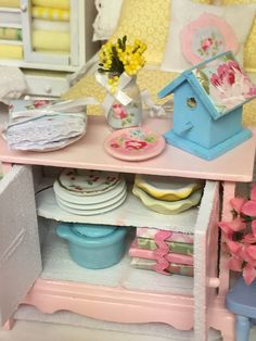 Miniature  Pink Cottage Hutch-1:12 Scale by RibbonwoodCottage
