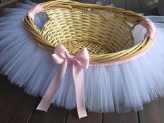 White and light pink Tutu Basket Tutu Gift Basket Tutu Baby image 0 Baby Shower Roses, Baby Shower Gift Basket, Baby Hamper, Baby Baskets, Baby Shower Fun, Girl Shower, Baby Shower Gifts, Baby Gifts, Girl Baby Shower Decorations