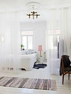 11 Best Small Studio Apartment Room Dividers functional room dividers (for small spaces! Studio Apartment Room Divider, Diy Room Divider, Room Divider Curtain, Apartment Living, Apartment Therapy, Living Room, Curtain Partition, Bed Divider, Apartment Interior