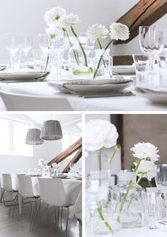 Beautiful table setting in glass and white