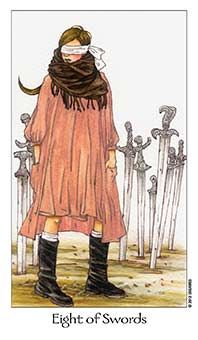 February 22 Tarot Card: Eight of Swords (Dreaming Way deck) You may feel stuck, trapped, needing to break free, but oftentimes this is our own doing. Don't let your views and self-imposed restrictions keep you stuck ~ open your mind and you will open doors