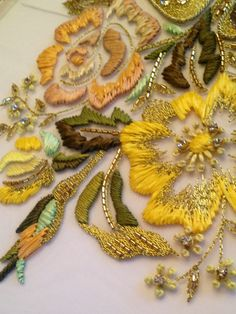 ♒ Enchanting Embroidery ♒   embroidered yellow flowers