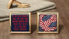 Personalized Star-Spangled Banner Cuff Links American USA Cufflink Gift American USA Wedding Cufflinks Patriotic American Gifts Father's Day