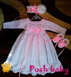 Baptism crocheted outfit, acrylic