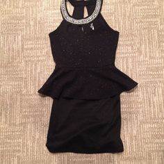 GORGEOUS PEPLUM DRESS Size small black peplum top dress, form fitting above the knee. Has three small keyholes by neckline and beautiful beading around collar. Peplum portion is glittery black fabric. Worn once for a few hours to a dance-PERFECT CONDITION smoke free home fast Shipping!(day of/day after purchase, depending on time of offer !) Deb Dresses