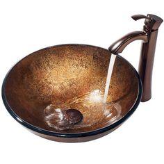 Liquid Copper Glass Vessel Sink And Bronze Faucet Vigo Vessel Bathroom Sinks Bath - $305