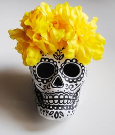 Black and White Day of the Dead Paper Mache Sugar Skull with Yellow Flowers