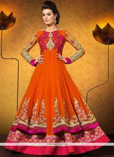 Appealing Orange Stone Work Georgette Anarkali Suit