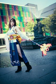 Another picture of my Yuna. I was very hesitant to cosplay as her because I don't look much like her, but it the end I'm very happy . Final Fantasy Cosplay, Final Fantasy X, Amazing Cosplay, Best Cosplay, Cosplay Costumes, Halloween Costumes, Cosplay Ideas, Costume Ideas, Yuna Cosplay