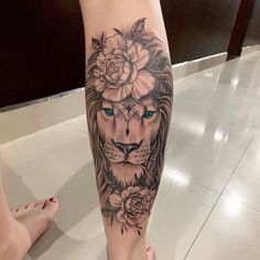 Image in Tatoo 🎨 collection by Zoé on We Heart It Leo Tattoos, Sleeve Tattoos For Women, Cute Tattoos, Body Art Tattoos, Small Tattoos, Tatoos, Floral Thigh Tattoos, Feminine Tattoos, Lioness Tattoo